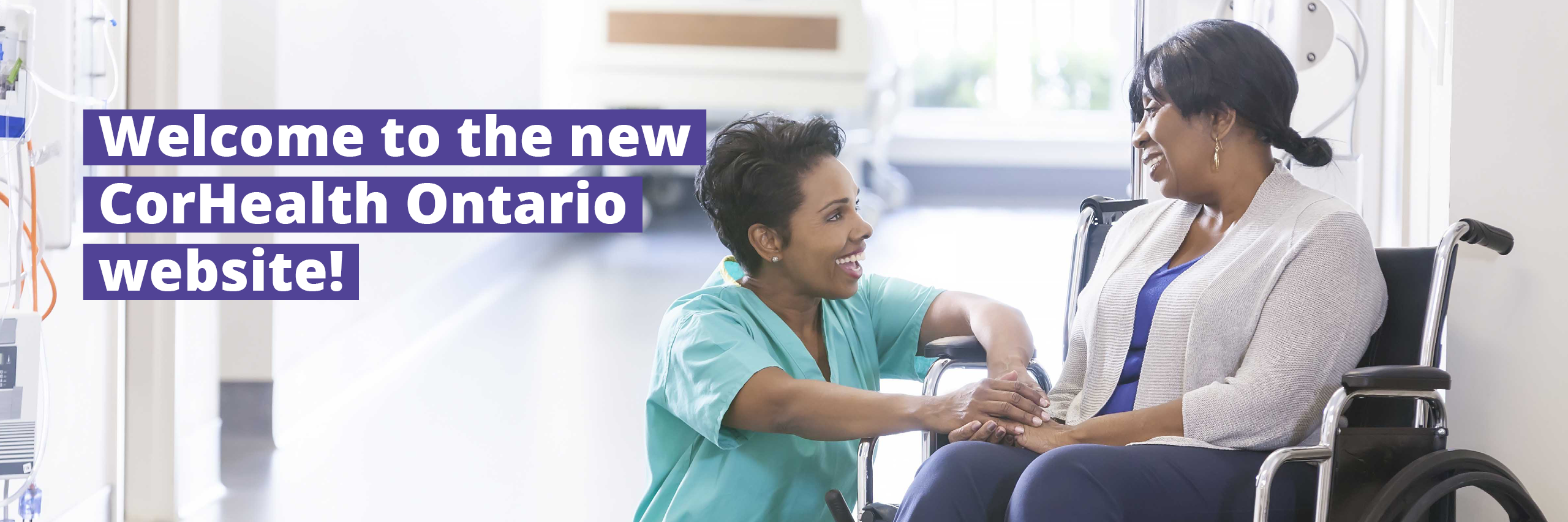 Welcome to the new CorHealth Ontario Website! - Young female healthcare provider squatting down to chat with senior women in a wheel chair.