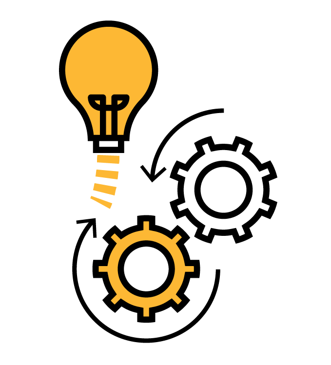 Icon depicting light bulb and rotating gears.