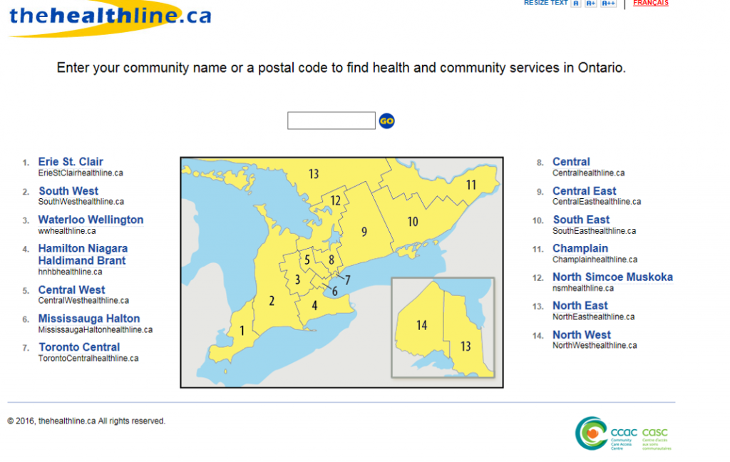 A screenshot of www.thehealthline.ca website's homepage outlining a LHIN map and search field to find local health and community services across Ontario.