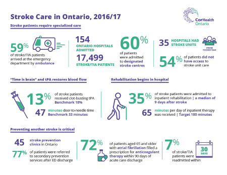 A thumbnail image of the 2016/17 Stroke Care in Ontario infographic.
